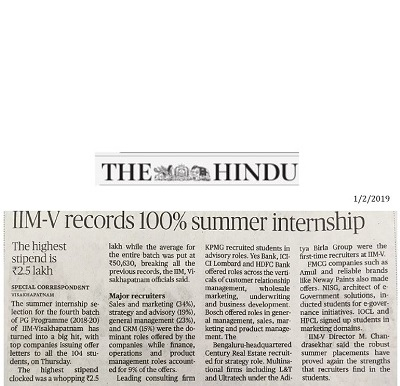 IIMV-Summer Internship Placements