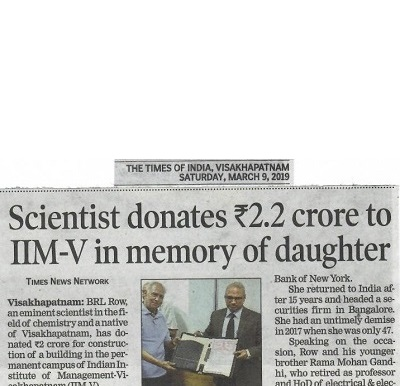 Scientist donates ₹ 2.2 crores to IIM-V in memory of daughter