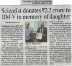 TOI: 09.03.2019 - Donation to IIMV