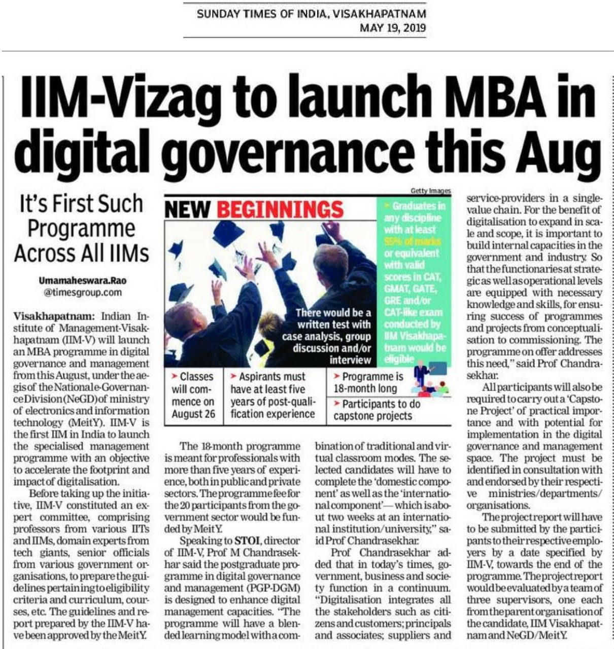 MBA in Digital Governance - 19th May 2019