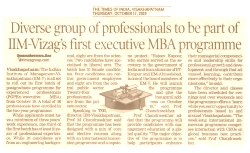 Diverse group of professionals to be part of IIM-Vizag's first executive MBA Programme